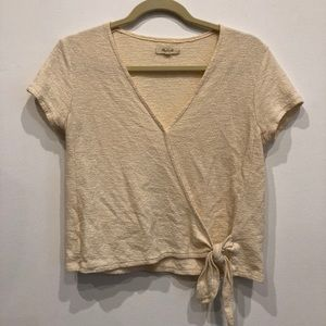 Madewell Cream Faux Wrap Top with Tie - Size Small